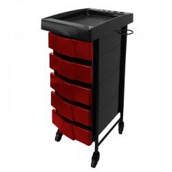 Kadeřnický stolek Deluxe 008 červený